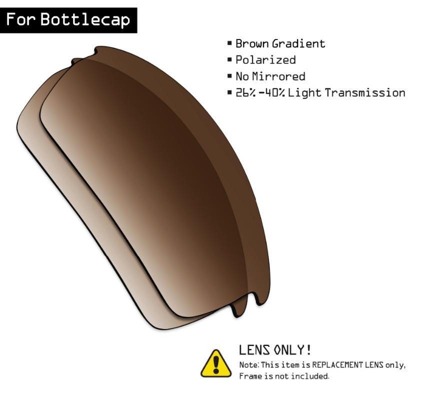 SmartVLT Polarized Sunglasses Replacement Lenses for Bottlecap - Brown Gradient Tint