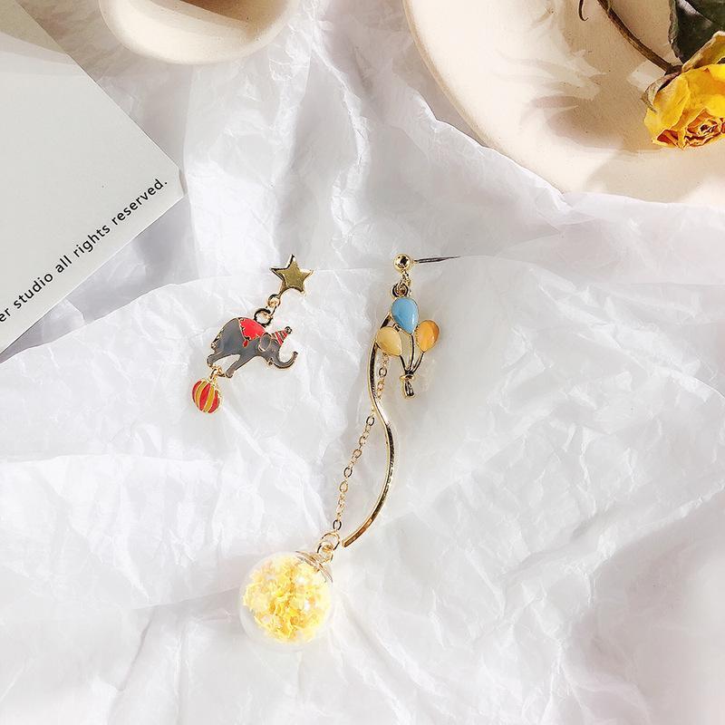 Glaskugel Elefant Heißluftballon Asymmetrie Niedlichen Zirkus Retro Stern Clip Ohrringe für Frauen Mädchen Modeschmuck Zubehör