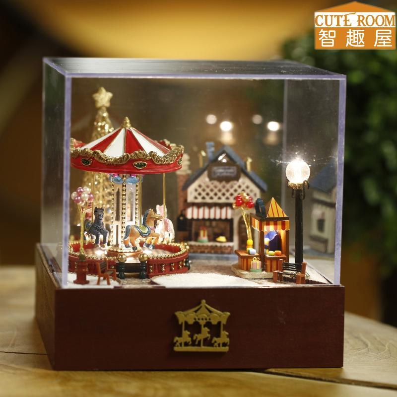 Çocuklar Noel ve Doğum T020 için mobilya DIY Minyatür Ev Dollhouse Oyuncaklar ile DIY Ahşap Ev Miniaturas birleştirin