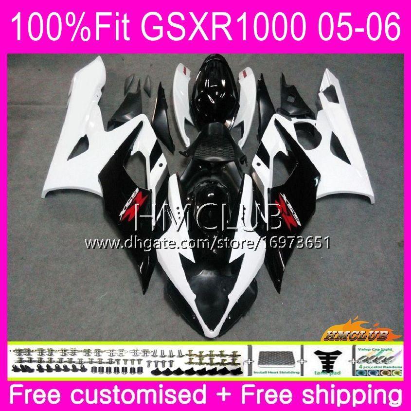 Iniezione Bodys per SUZUKI GSX-R1000 GSXR 1000 05 06 Carrozzeria 11HM.4 Nero Bianco Top GSXR1000 05 06 K5 GSX R1000 GSXR-1000 2005 2006 Carenatura