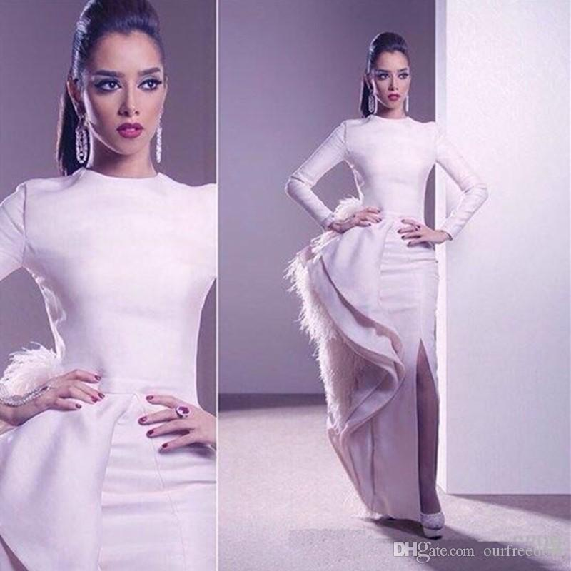 2020 New White Satin Sheath Celebrity Dresses With Side Split Long Sleeves Red Carpet Prom Party Dresses With Feathers Custom Made Plus Size