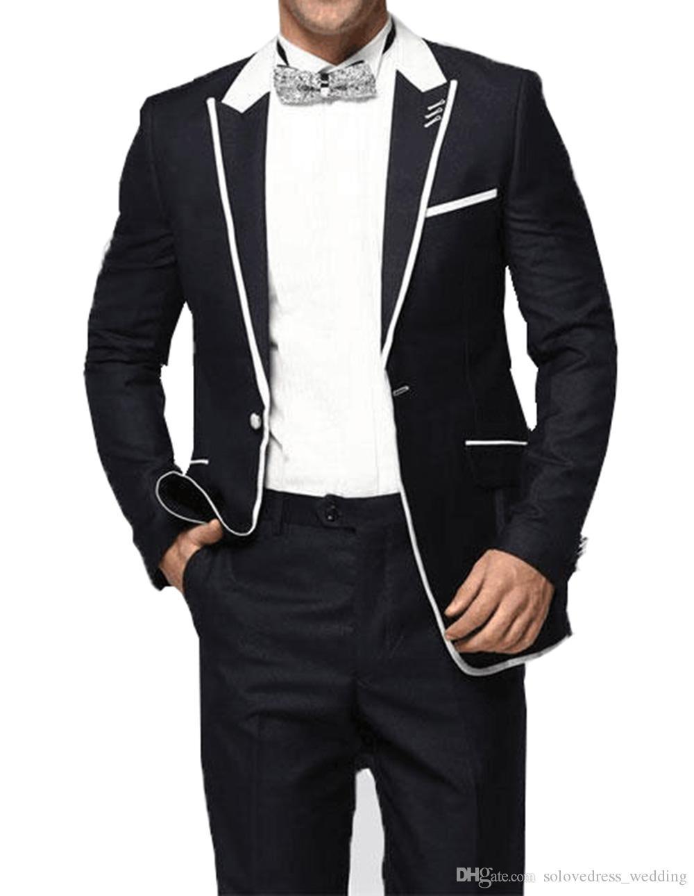 2019 Costume Hommes pour mariage Slim Fit 2 pièces Costume de marié smokings personnalisé Costume Formel Pour Le Mariage Bestmen