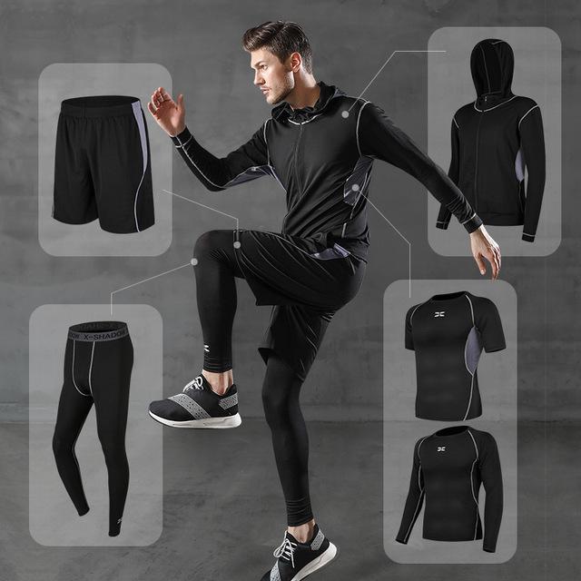 Gimnasio ropa de deporte traje de medias de los hombres nueva Fitness Wear traje de entrenamiento de baloncesto traje de entrenamiento de verano de secado rápido de gimnasia NT05