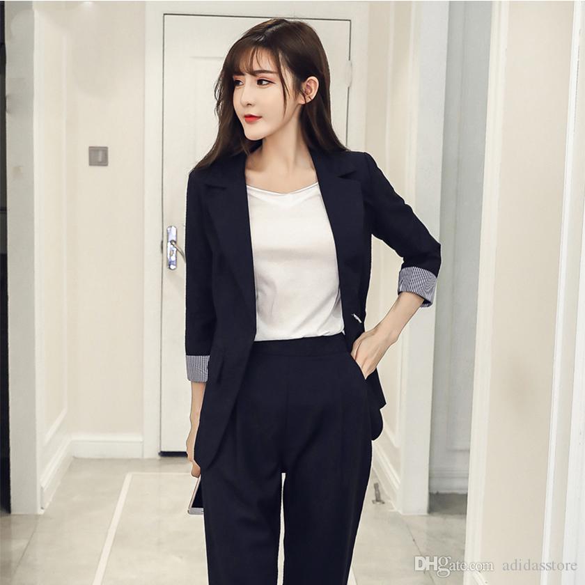 Blazer de las nuevas mujeres de la llegada del otoño se adapta a tops y pantalones largos Casual con muescas Moda Elegance 3/4 manga Hots
