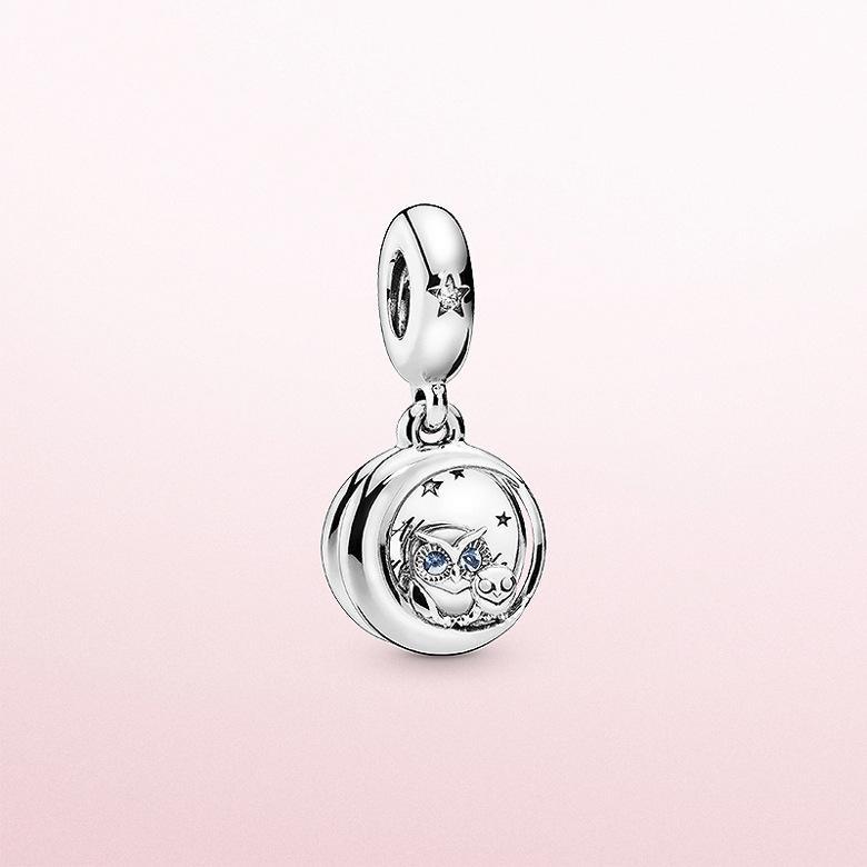 Panjia S925 argent pur style nouveau avec vous hibou personnalité de perles chaîne pendentif mode accessoires bricolage gros