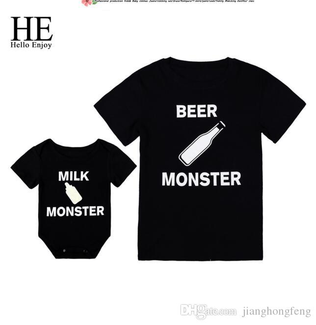 Hello Enjoy Family Matching Clothes Look Father And Son T-shirt Black Print Letter Baby Boys Rompers Daddy Tops Tees Kids