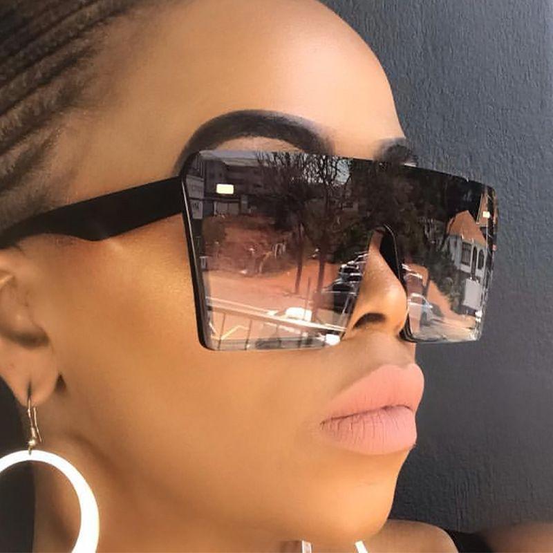 Fashion Maxi-Quadrat Sonnenbrille Männer Frauen Vintage Reise-Gradient Lens Shades Sonnenbrillen Männer Big Black Frame Brille 2020 Sommer-Unisex