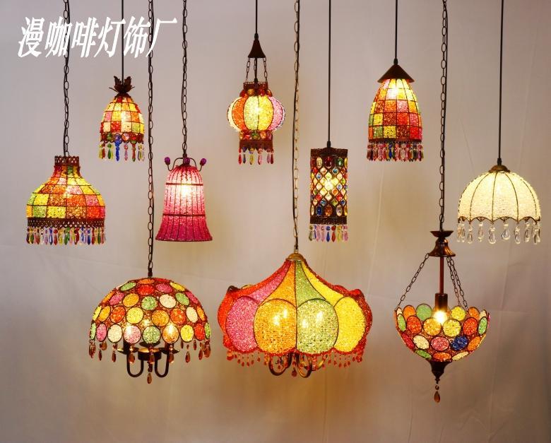 Éclairage Marocain Restaurant Couleur Cristal Perle Lustre Bohème Sud-Est Asiatique Style Luminaires