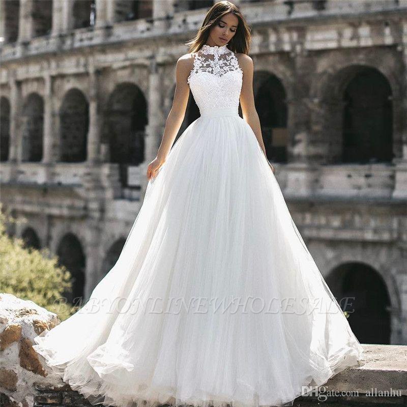 High Neck Lace wedding dress Elegant High Neck Sleeveless Appliques A-Line Floor-Length Wedding Dresses Lace Dresses