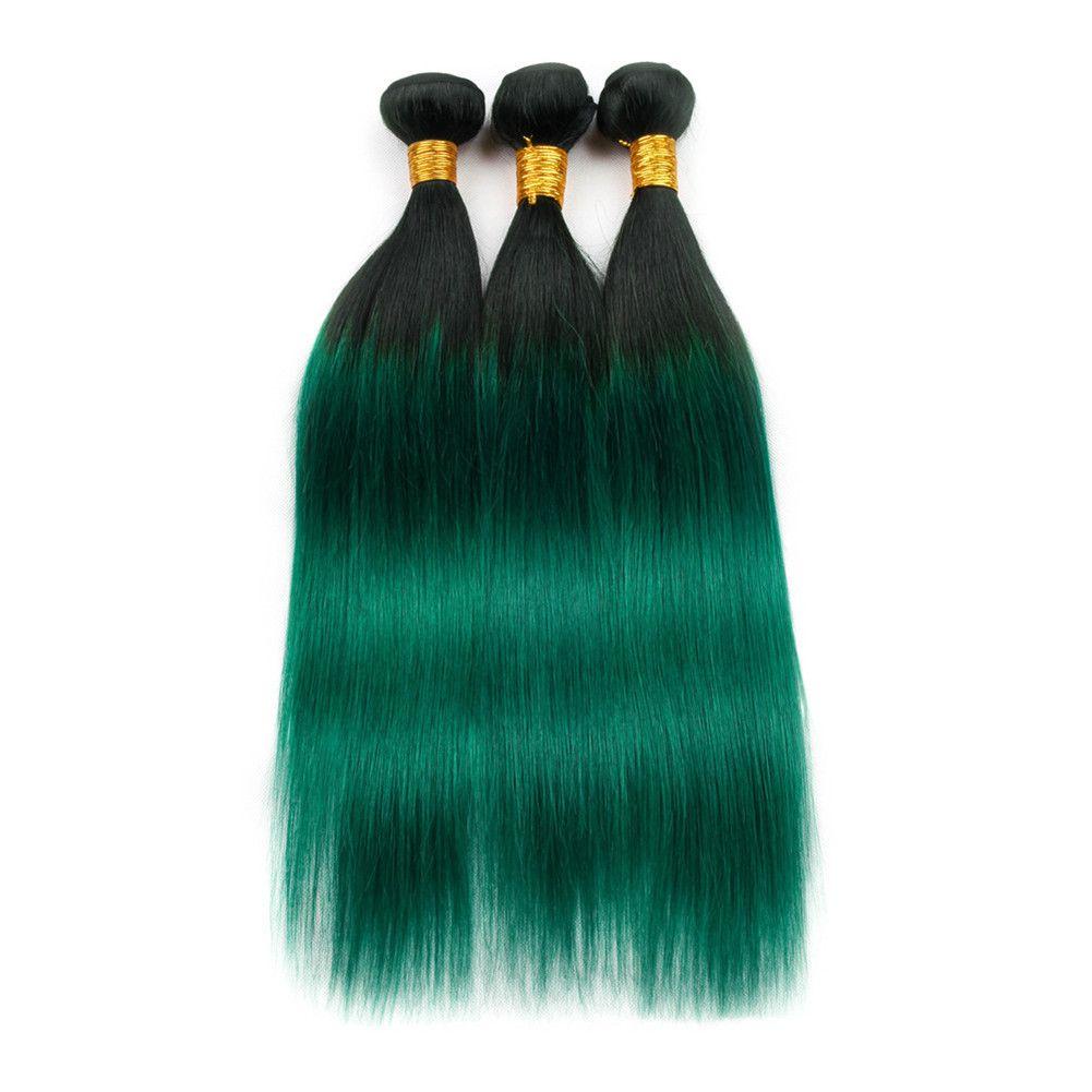 """# 1B / Зеленые черные корни Ombre человеческие волосы 3 пучка 300 г Темно-зеленые Ombre девственные индийские пучки плетения человеческих волос Двойные утки 10-30 """""""