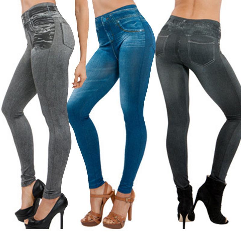 HOT mulheres magras Jeans Leggings com bolso cintura alta Slim Fit Denim Pants Calças HV99