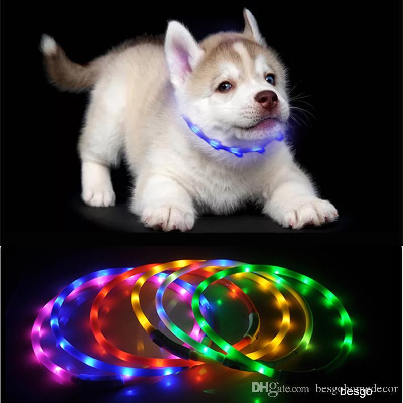 70cm LED Pet Dog Collar Rechargeable USB Adjustable Flashing Cat Puppy Collar Safety In Night Fits All Pet Silicone Dogs Collars DBC BH2855