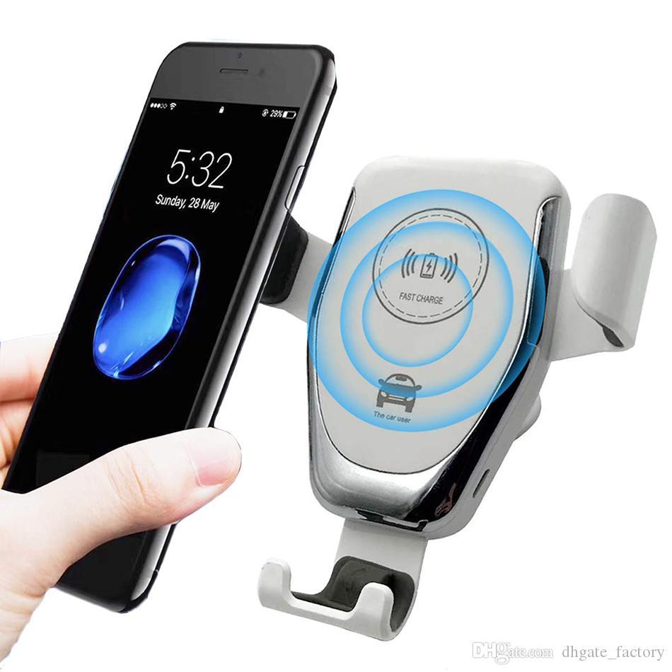 10W carro sem fio do carregador Qi Carregador Rápido Car Mount Air Vent Phone Holder para o iPhone Samsung Todos os dispositivos Qi com Retail Box