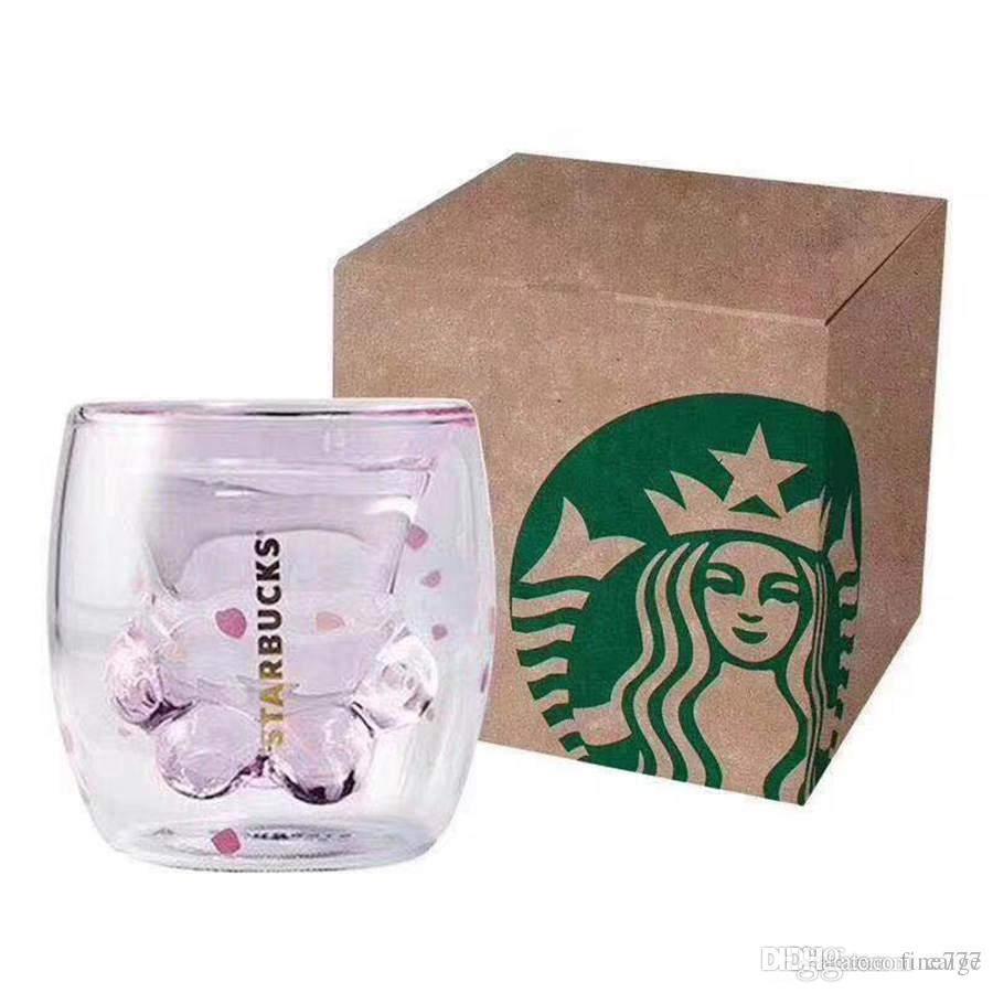 2019 Starbucks Limited Eeition Chat Pied Coupe en gros Starbucks Cat Paw Mug Chat-Griffe Tasse À Café Jouets Sakura 6oz Rose Double Mur Tasse En Verre