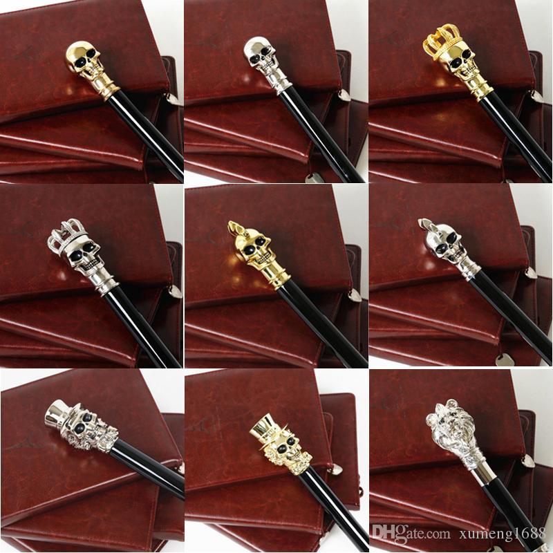 الشظية / الذهب مقبض طويل شبح الجمجمة مظلة سوداء ، مظلات المطر الشمس ، مظلة عصا الغولف Supercool