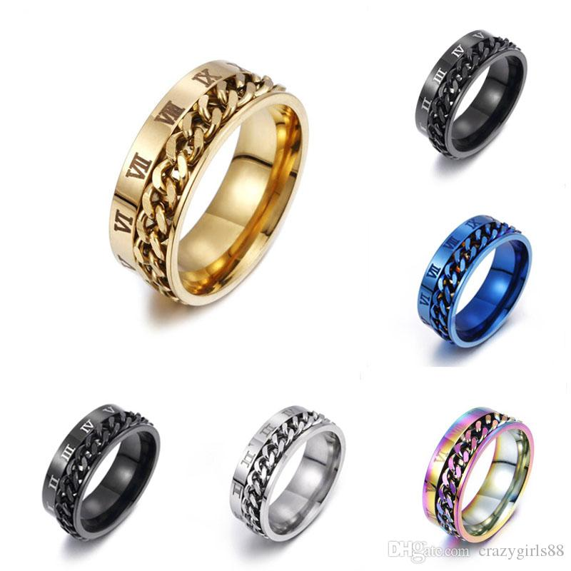 Personality Roman Numeral Titanium Ring Rotating Chain Ring Cable Chain Stainless Steel Rings Finger Tide For Men Fashion Jewelry Size 6-12