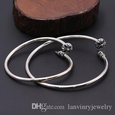 Brand new 925 sterling silver bracelets antique silver American hand-made designer jewelry large nail crosses bangles for women