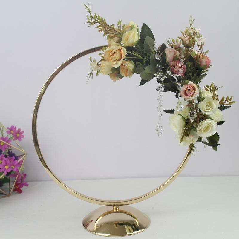 Gold ring metal arch party wedding backdrop decor table centerpiece set flower stand with artificial flower arrangement peonies