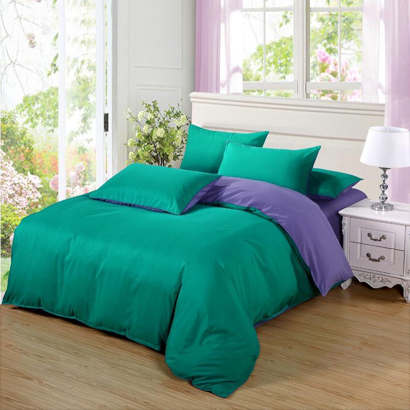 Summer Lake grün lila Bettwäsche-Sets Duver Cover Bettbezug flach Bettlaken Kissenbezug Soft single King Queen Full