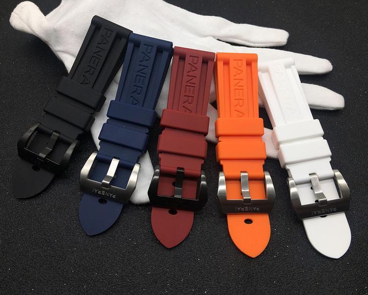 logolu 24mm PaNr İzle Grupları Lastik Saatler Marka Kayış Siyah Gümüş toka Siyah Mavi watchband