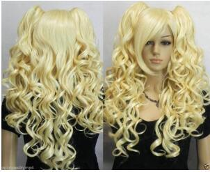 Парик бесплатная доставка горячая термостойкая партия hairCosplay 8 мульти-цветов смешать длинные вьющиеся сплит типа парик + два клипа хвостик Wi