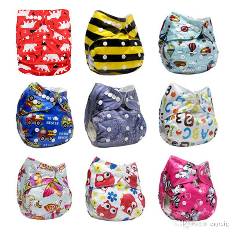 Cartoon Baby Washable Cloth Diaper Cover Adjustable Animals Printed Baby Reusable Nappies for Baby Potty Training Pants