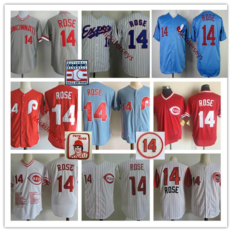 Mens Expos de Montreal Pete Rose jerseys cosido azul blanco rojo de la cremallera Filadelfia Cincinnati # 14 Pete Rose Jersey Retiro S-3XL