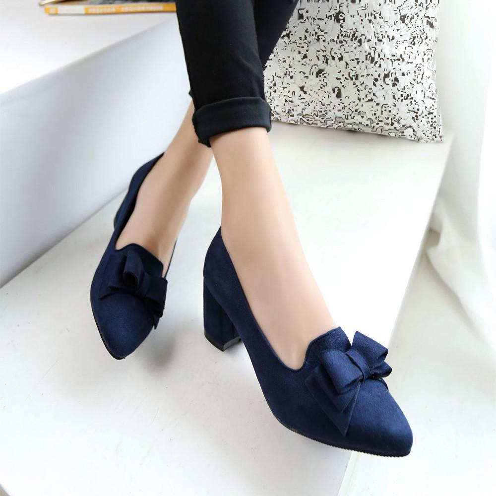 Designer Dress Shoes 2019 Candy Color Women Pumps Shallow Color Women's Bowknot Suede Block Thick High Heels Bowtie Working