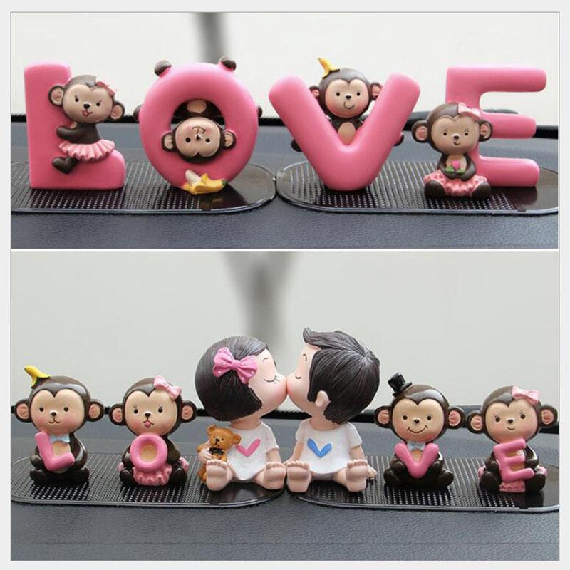 Moda Car Styling amor dos desenhos animados Macaco Banana boneca Car Decoração Auto Painel Acessórios Interior Craft Gift Ornamentos