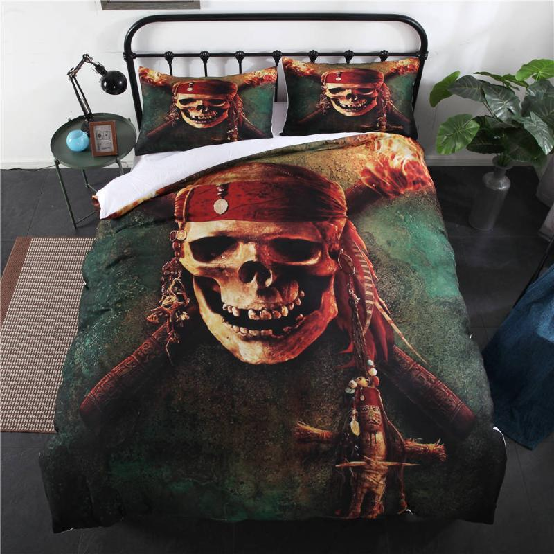 3D Print Halloween Skull Punk Comforter Bedding Sets Twin Full King Size Duvet Cover Set 2/3pcs with Pillow of Bedding Suit