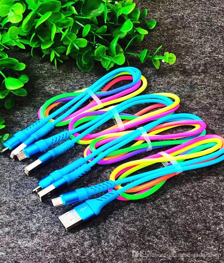 Micro USB Rainbow Cable 1m 3ft Duurzaam 2A Snelle opladen Geweven Nylon Legering USB-kabels voor slimme telefoon 100pcs / lot
