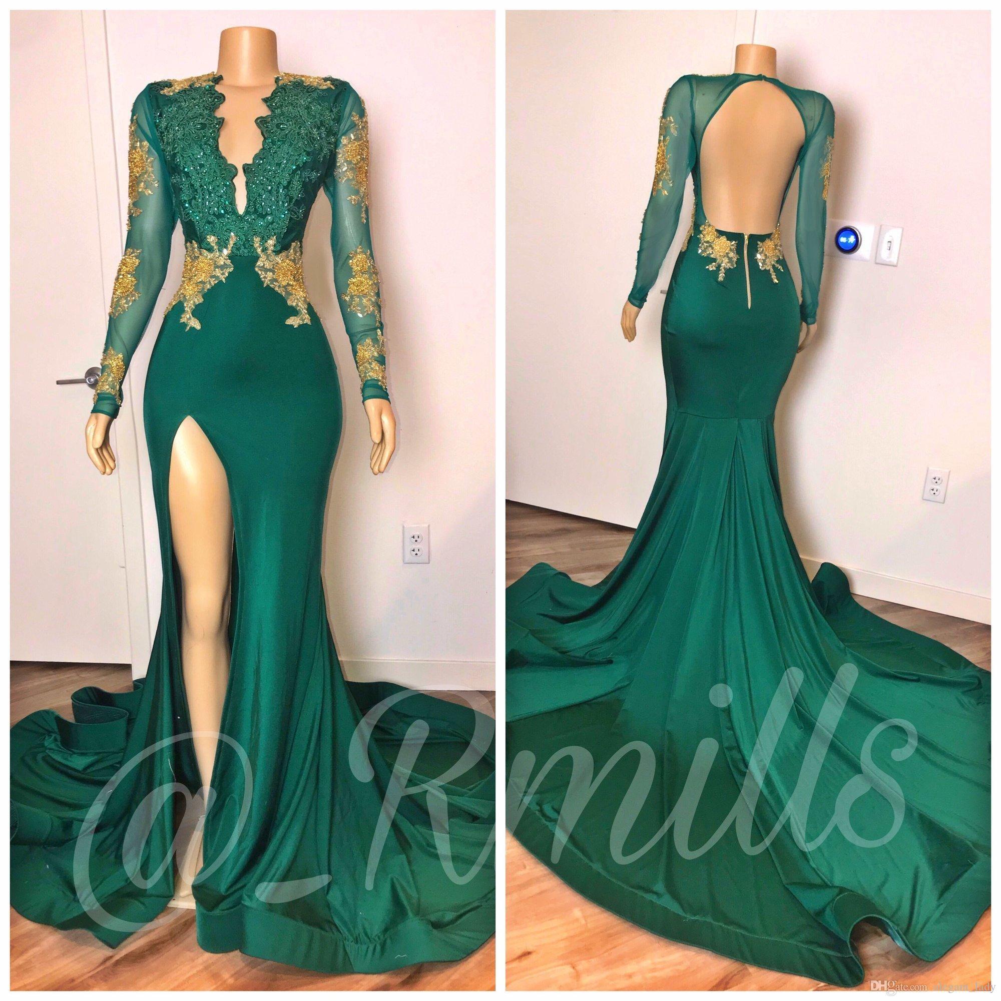 Apliques de encaje verde caqui de manga larga vestidos de baile larga con cuentas de oro profundo cuello en V vestidos de alta lateral abierto sin espalda vestido de fiesta vestido