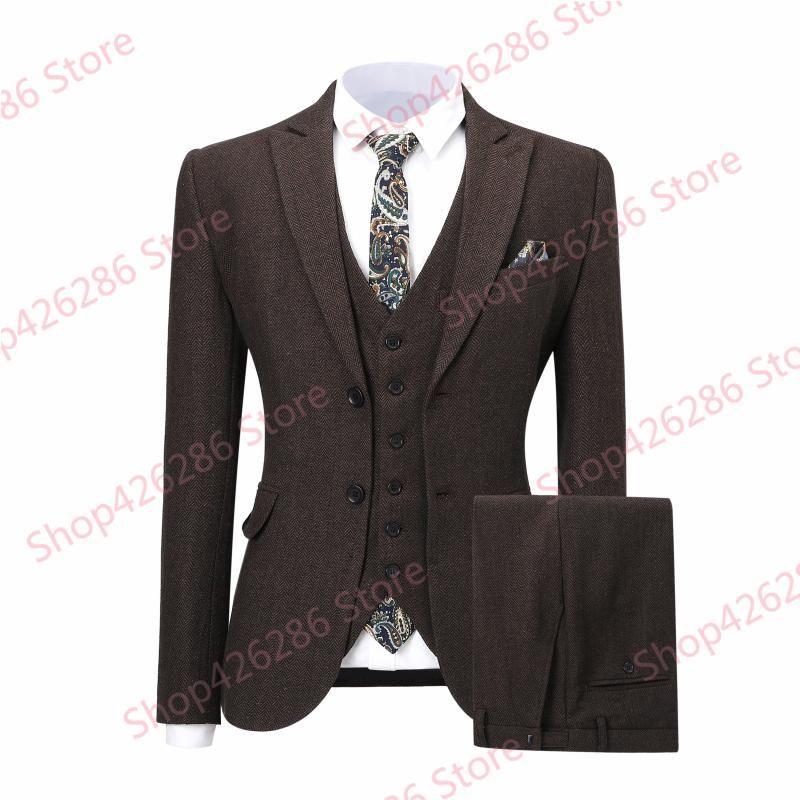 Uomo Slim Fit vestito reale Immagine a spina di pesce 3 pezzo conferisce al rivestimento Pantaloni Imposta formale nozze Blazer Groom smoking Costume Homme Nuovo