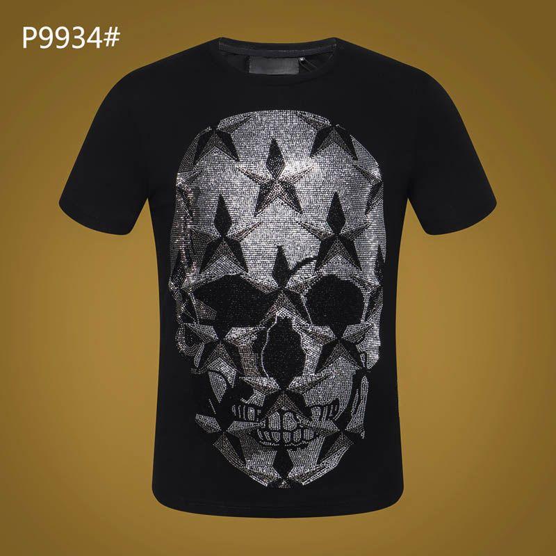 Лето с коротким рукавом футболка #3021 хип-хоп мода мужчины О-образным вырезом фитнес повседневная тонкий топы PP мужские черепа печати хлопок уличная футболка