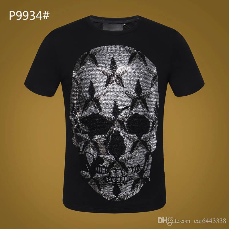 Sommer Kurzarm T-Shirt # 3021 Hip Hop Mode Männer Oansatz Fitness Beiläufige Dünne Tops PP Männer Schädel Druck Baumwolle Streetwear T-Shirt