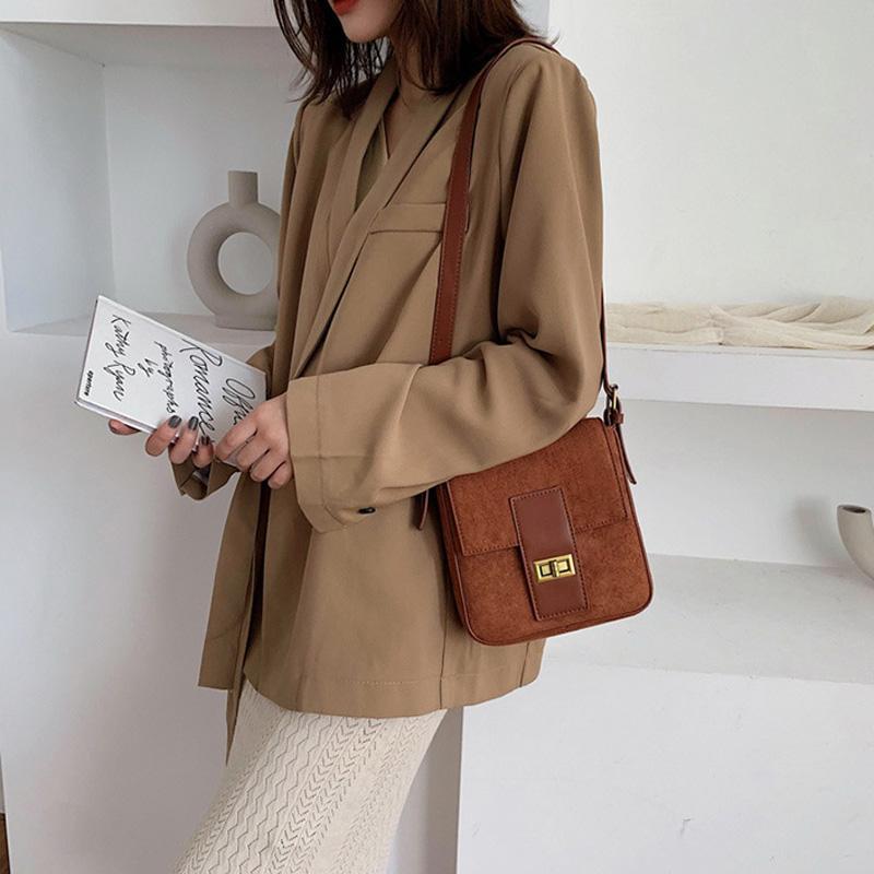 Scrub Leder Umhängetaschen für Frauen 2019 Solid Color Schulter Messenger Bag weibliche Winter Mini-Handtaschen und Geldbörsen