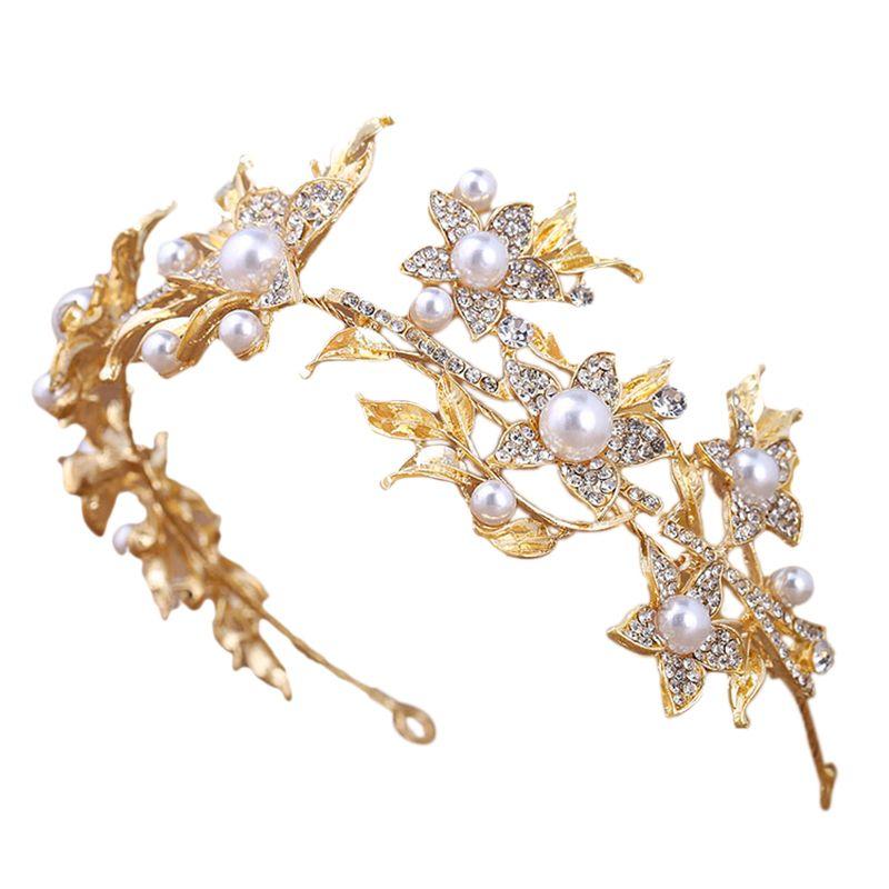 Mode Strass-nachgemachte Perlen-Blumen-Gold Brauttiara- Stirnband Frauen Tanz-Party-Soft-Kopf Schmuck Accessoires