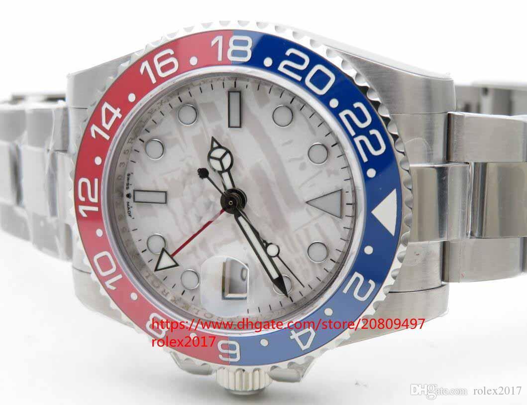 남성용 126719BLRO 시계 자동 ETA 2813 BP 공장 GMT 운석 스타일 다이얼, 라운드 마커 포함 레드 / 블루 세라믹 사파이어 시계 nobox
