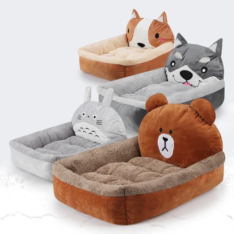 3D Cartoon Totoro Fleece Puppy Bench Bear Lounger Dog Bed For Medium Small Dogs Cat Pet Mat House Y200330