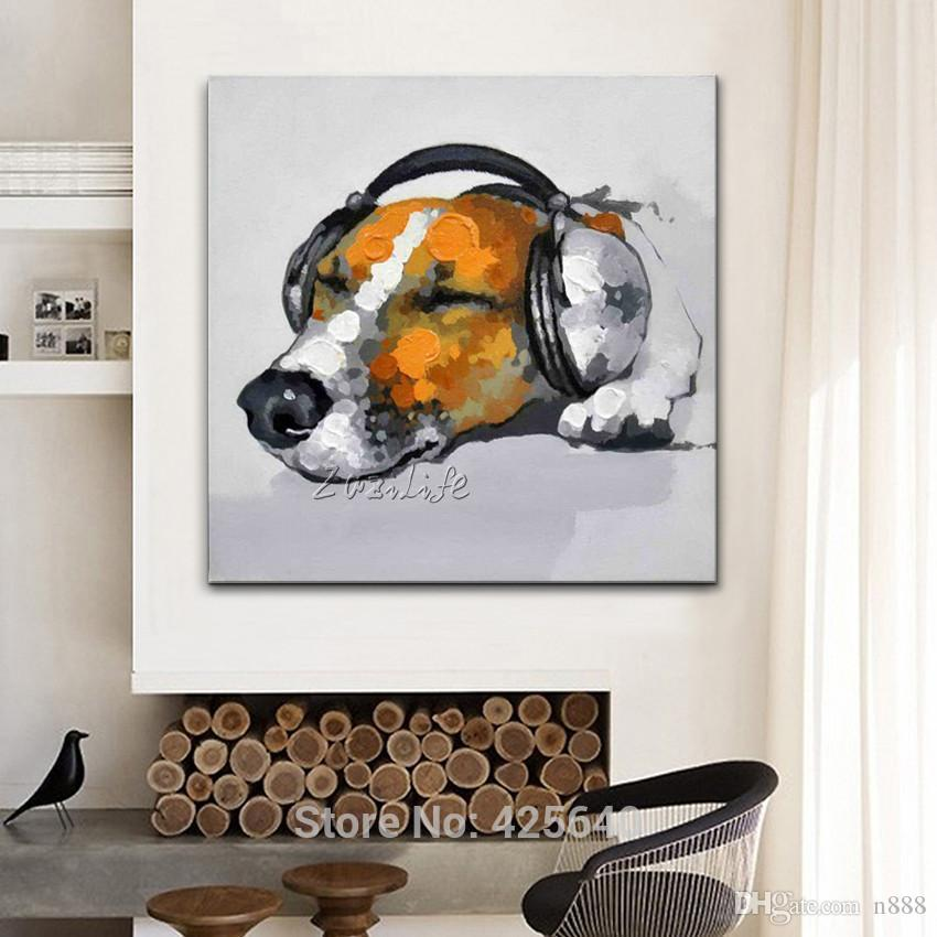 Handpainted & HD Printed oil painting Abstract Animal Dog Wall Art High Quality Home Decor On Canvas Multi Sizes Frame Options a74