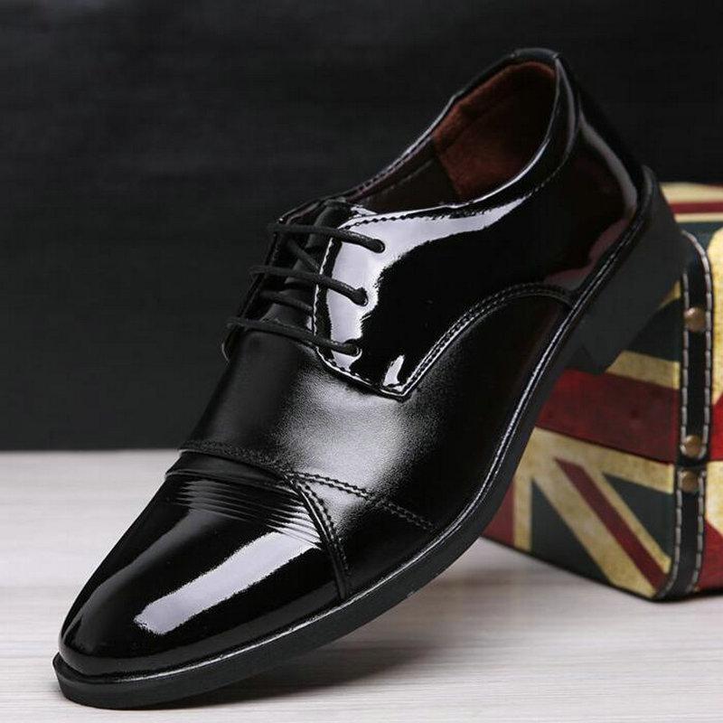 zapatos de cuero de zapatos de los oxfords de los nuevos hombres en punta de vestir de negocios C21-47 con cordones de los hombres