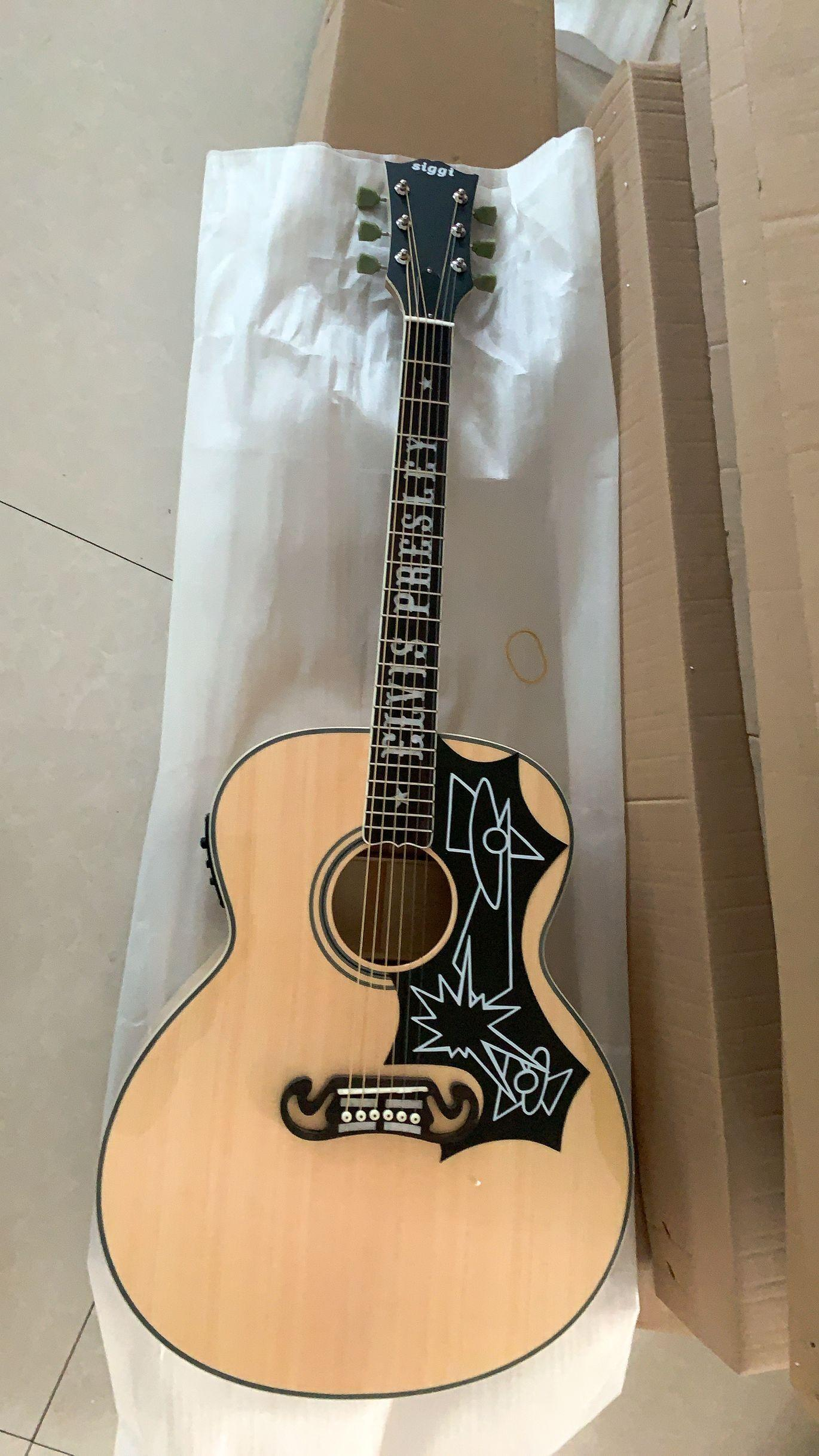 الجديد 43 # الفيس بريسلي J200 الغيتار الصوتية الغيتار جامبو لهب القيقب الجسم 43 بوصة J200 الصوتية الصلبة الصوتية الكهربائية 191105
