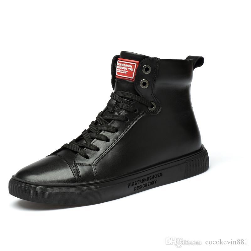 2019 di vendita al dettaglio ed i commerci all'ingrosso di alta qualità stivali Martin stivali spaccato della mucca nuovi uomini di stile scarpe di cuoio del materiale moda maschile