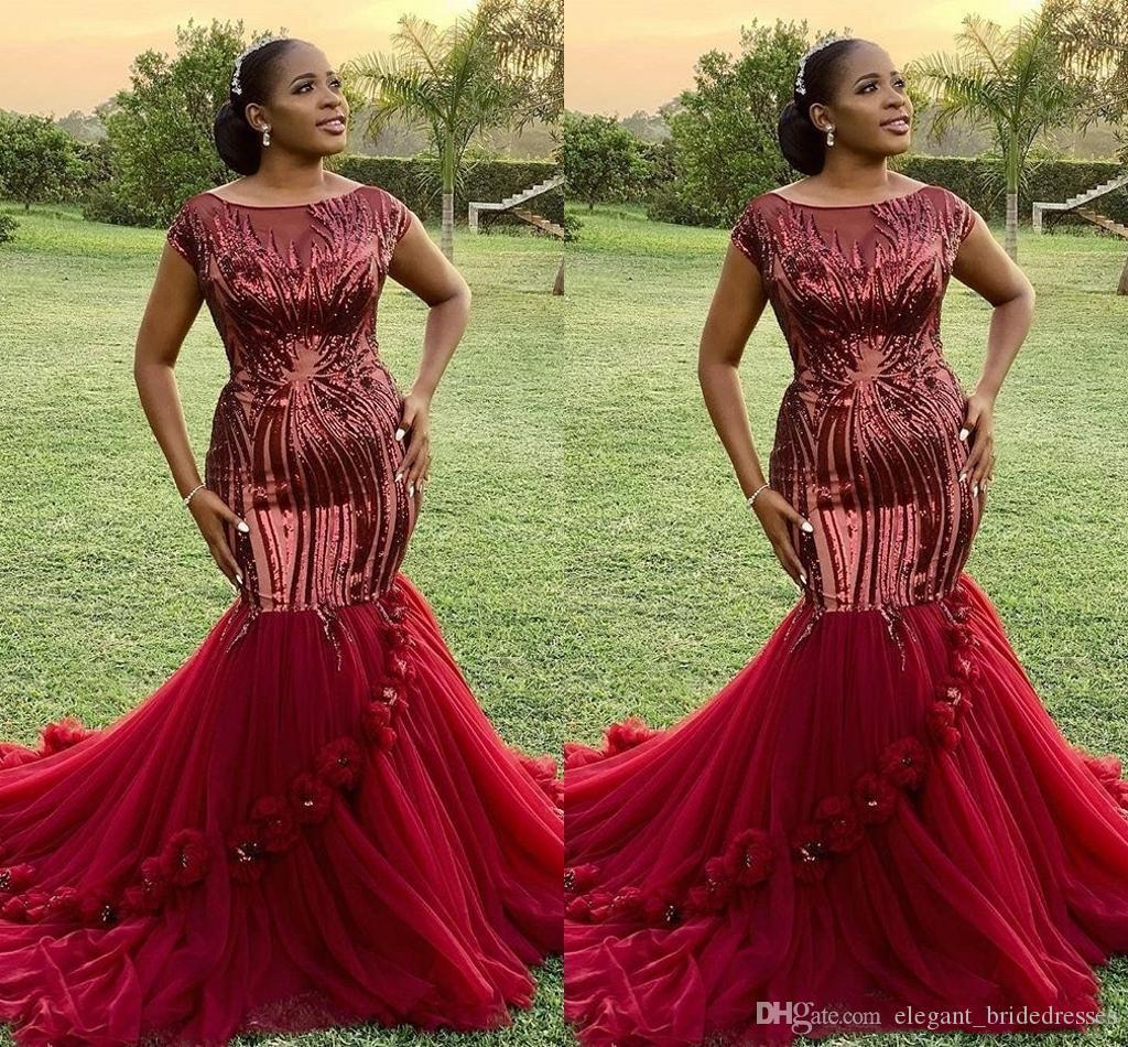 2019 robes de bal de sirène rouge foncé sans manches paillettes africaines filles noires de bal robe de soirée étincelantes taille plus robes de soirée en tenue de soirée