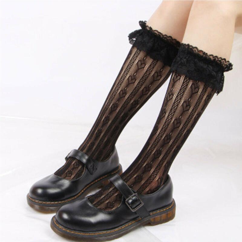 Art und Weise Lolita Gothic Kalb Sprunggelenk Knie-Rüsche-Frauen-Mädchen-reizvolle Spitze-Socken-Strumpf-Größe 4 -6Y
