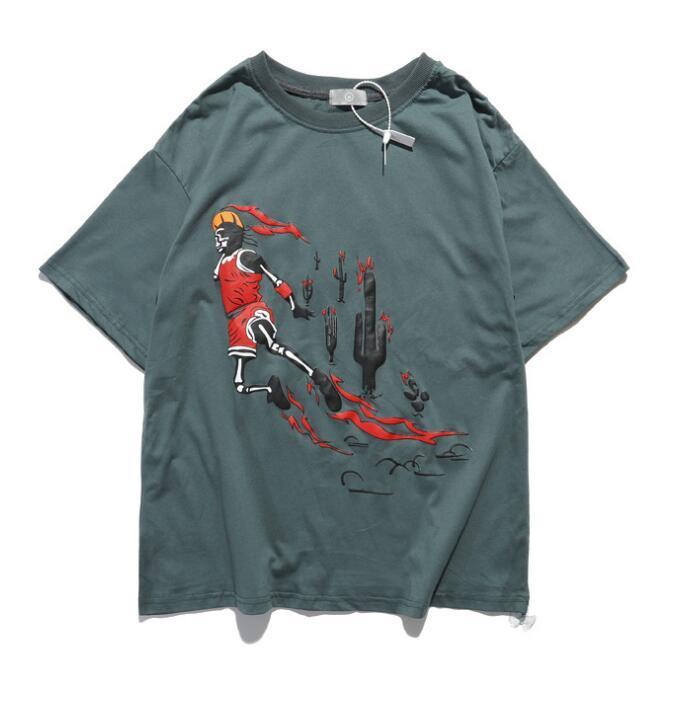2020 новый европейский и американский тренд Трэвис Скотт совместного TS коротких рукава старое ретро пламя замочить свободно хип-хоп футболка мужского летнего прилив