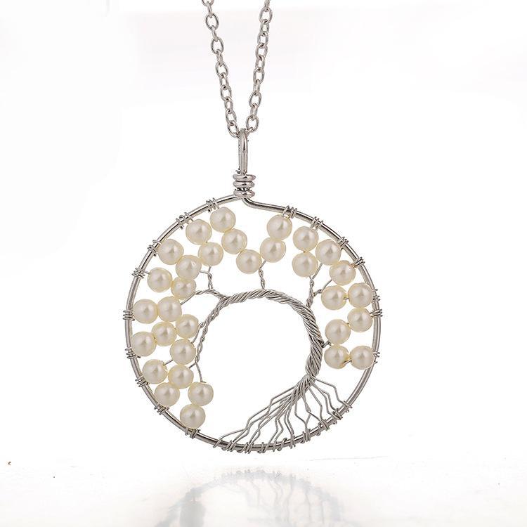 Pérolas fio árvore de vida pingente de brincos colar conjuntos de jóias sabedoria árvore de dinheiro árvore brincos mulheres 7 colar de chakra