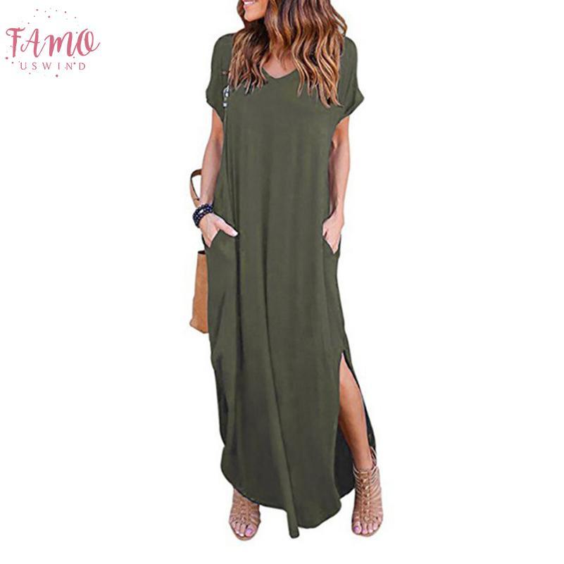 Плюс размер 5XL сексуальные женщины платье 2020 сплошной свободного покроя с коротким рукавом макси платье для женщин длинное платье Бесплатная доставка Леди платья