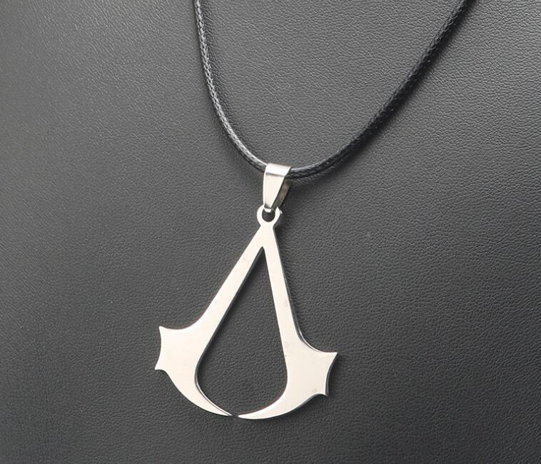 Wholesale Assassins Creed Necklace Pendant Leather Rope Hollow