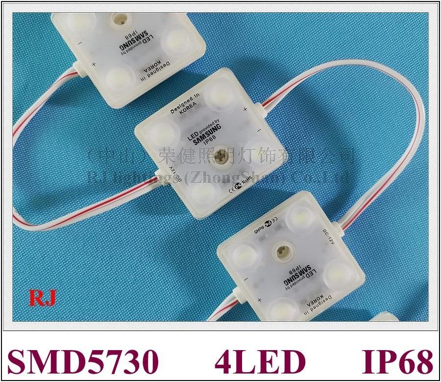 주입 LED 단위 표시 DC12V SMD5730 4LED 2W 220lm 41mm * 41mm * 8mm를위한 초음파 물개 IP68 LED 빛 단위